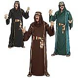 WIDMANN 44041 - Erwachsenenkostüm Arabischer Scheich - Tunika, ärmelloser Mantel, Gürtel und Turban, Größe S, mehrfarbig
