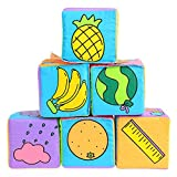 Alxcio 6pcs Séries Bébé Tissu Hochet Doux Blocs de Construction Jouets Cube Jouets Développement Jouet