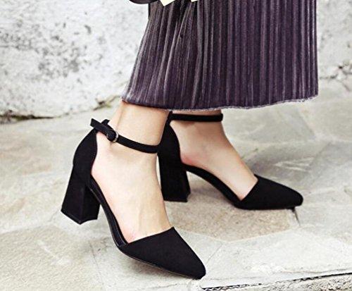 OL Pompe Scrub di nozze Cinghie di caviglia Peep Toe Chunky Mid Heel Donne Scarpe casuali UE Taglia 34-39 Black