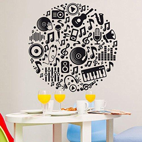 vinilo decorativo de ojetos relacionados con la música formando un círculo. Color negro. Medidas: 70x70cm