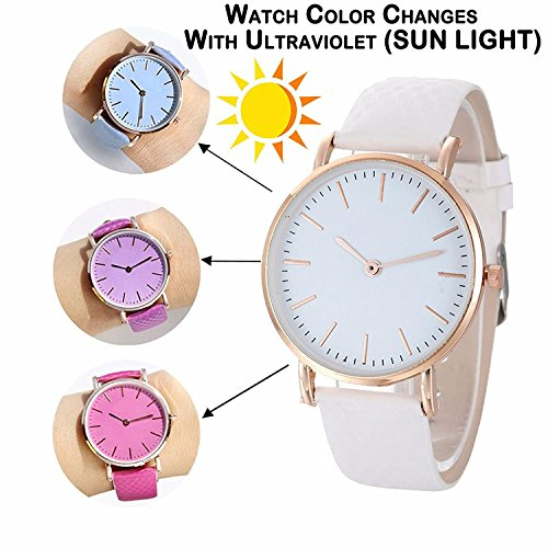 Luxurit Classy Analogue Color Changing Watch for Girls & Women-Premium Quality (White to Purple)