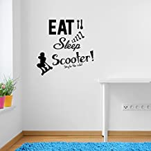 Stunt Scooters Eat Sleep Scoot Rule Sports Quote Wall Decorations Window Stickers Wall Decor Wall Stickers Wall Art Wall Decals Stickers Wall Decal Decals Mural Décor Diy Deco Removable Wall Decals Colorful Stickers