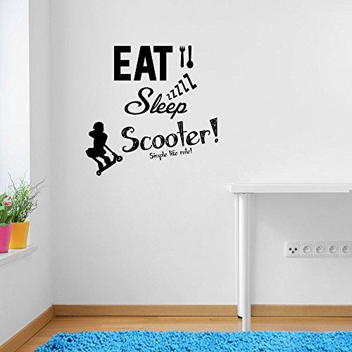 Stunt Scooters Eat Sleep Scoot Rule Sports Quote Wall Decorations Window Stickers Wall Decor Wall Stickers Wall Art Wall Decals Stickers Wall Decal Decals Mural Décor Diy Deco Removable Wall Decals Colorful Stickers by Vinyl Concept