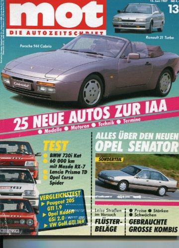 """""""MOT - Die Autozeitschrift"""", Heft 13/1987, Vergleich: Opel Kadett GSi kontra Peugeot 205 GTI kontra VW Golf GTI. - Tests: BMW 730i, Opel Corsa Spider, Mazda RX-7, Lancia Prisma Turbo DS - Unvergessen: Lancia Aurelia Spider - Pflegepass: Austin Metro"""