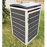 Prewood WPC Mülltonnenbox, Mülltonnenverkleidung für 1x 240l Mülltonne grau // 86x76x127 cm (LxBxH) // Gerätebox, Gartenbox & Mülltonneneinhausung
