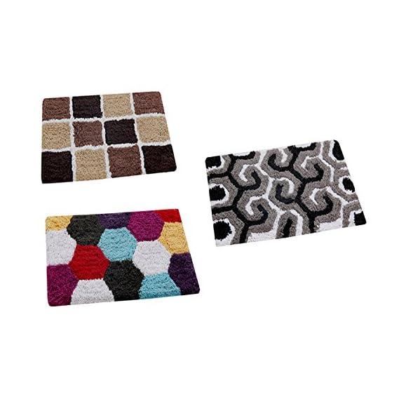 AAZEEM Abstract 3 Piece Cotton Door Mat Set - 16 x 24, Multicolour
