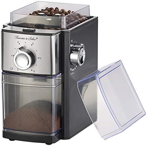 Rosenstein & Söhne Küchenzubehör: Elektrische Kaffeemühle, Scheibenmahlwerk, für 250 g Bohnen, 150 Watt (Espressomühle)