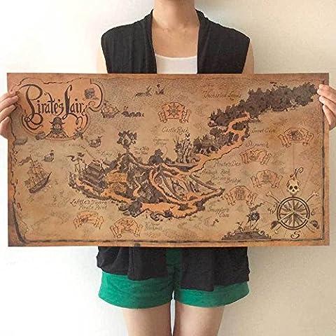 Poster parete cartina geografica nautica antica mappa ISOLA TESORO pirati pirata