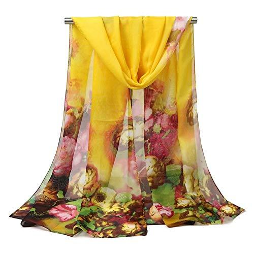 Floral Bedruckte Schal (GUANHONG Schal Frühling, Sommer, Herbst und Winter Chiffon Schal Frauen Floral bedruckter Schal Strandtuch)