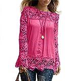TIFIY Damen Shirt, Spitze Stitching Bluse Herbst lose Feste Langarm Top, Frauen Klassische Arbeit Büro Top Outdoor Sweatshirts Kimono(Pink,48/5XL)