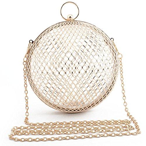 YXLONG Neue Europäische Und Amerikanische Damen Eisen Mesh Ball Abendtasche Metall Abendtasche,Gold(withbracelet) (Mesh Abendtasche)