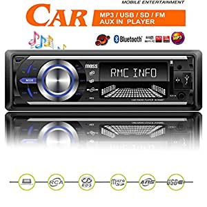 Moss™ Bluetooth Car Stereo with MP3 WMA Playback Radio USB SD Card MP3 Ipod Aux in NON CD with Remote Control