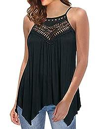 Lilicat Top Damen Oberteile Ärmellos T-Shirt Sommer Tank Top V-Ausschnitt Mode  Hemden Casual Spitze Aus der Schulter Shirt Lange Ärmel Lose… 62a357bc63