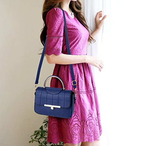 NICOLE&DORIS Mode Frauen Handtaschen Umhängetasche Damenhandtaschen Henkeltaschen Schultertaschen Shopper Wasserdicht PU Schwarz Blau