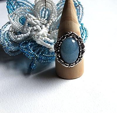 Bague bleu ciel pierre aigue marine ovale rétro romantique plaquée argent vieilli - haut de gamme - idée cadeau femme - Noël - Saint Valentin - Fête des mères
