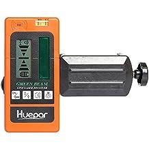 Laserdetektor Grüner Strahl Digital Laserempfänger Huepar LR510 Verwendet mit Pulsing Line Laser bis zu 200ft/60m Entfernung, Zweiseitige, hintergrundbeleuchtete LCD-Displays mit Genauigkeitseinstellungen, Automatischer Abschalttimer, Inklusive Klemmhalter