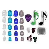 Dilwe 20pcs protecteurs Doigt Silicone +10pcs médiators +Clip de médiators +4pcs mediators de celluloïd +2pcs Clips musicaux...