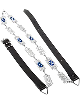 I Luv LTD Celtic Criss Cross-Rect. Knot Chain Belt Saltire Flag - Chrome