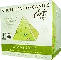 Choice Organic Whole Leaf Organics Jasmine Green Tea Pyramids, 15-Count, 1.05-Ounce Boxes (Pack of 3)