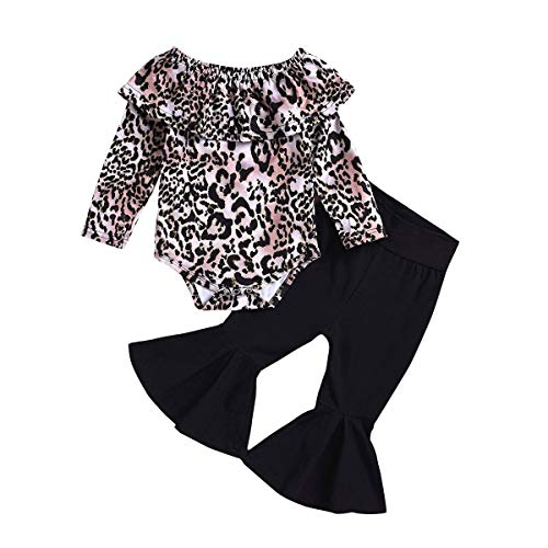 puseky Kinder Baby Girl Leopard Ruffle Schulterfrei Hemd Bell Bottom Hosen Outfits Set
