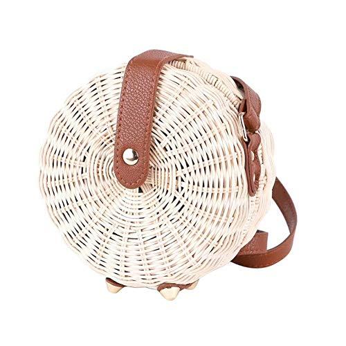 Rattan Umhängetasche Handgewebte Runde Handtasche Damen Strohbeutel Kreis Handgewebte Strand Taschen -