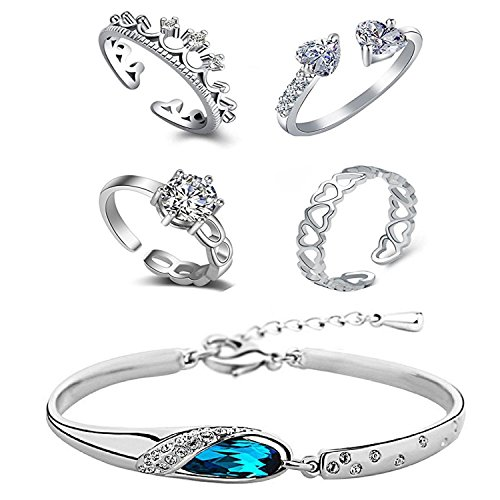 Valentine Gift Om Jewells Immitation Jewellery Rhodium Platted Combo of 4 CZ Classy Party Wear Adjustable Rings and One Designer Crystal Bracelet for Girls and Women CO1000105