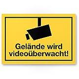 Gelände wird videoüberwacht PVC Schild, Infozeichen (gelb, 30 x 20cm), Hinweisschild, Warnhinweis Videoüberwacht für Einbruchschutz, Videoüberwachung - angelehnt an DIN 33450