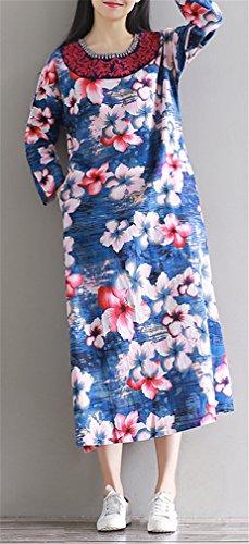 Femme Femmes Rétro style chinois Impression Folk manches longues en lin longue Hem Dress Robe Bleu