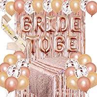 Coxeer Bride to Be Decorations Set Party Balloon Sash Fringe Curtain Sequin Tablecloth Wedding Supplies