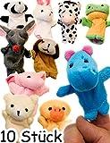 HomeTools.eu - 10 Finger-Puppen Lustige Tiere, Fördert Kreativität | Panda Hase Kuh Frosch Maus Hund Schwein Teddy Ente Nilpferd | 10er Set