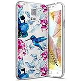 Coque Galaxy S5,Surakey Etui Housse Silicone Transparent pour Samsung Galaxy S5 Coque de Protection en TPU Bumper et Anti-Scratch avec dessin animé Motif (Fleur oiseau)