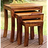 Corazzin Furniture Sheesham Wood Nesting Bedside Tables Set of 3 for Living Room Home Bedroom and Office