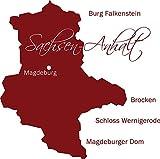 GRAZDesign 630415_57_030 Wandtattoo Wall Sticker für Wohnzimmer Büro Sachsen Anhalt Karte Umriss Städte (58x57cm//030 dunkelrot)
