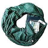 LANDUM Womens Doppio Strato Secret Hidden Zipper Pocket Infinity Loop Sciarpa Vertical Striped Glitter Tinta Unita Winter Ring Blanket Wrap Shawl - Deep Green