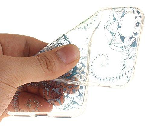 Nnopbeclik Silikon Transparent Hülle Für Apple Iphone 7, Ultra Slim Weich TPU Cover Case Neu Design Super Durchsichtig Hohl Luxus Bling Blume Case Etui, Schutzhülle Muster Glänzend Glitzer Strass Kris #15