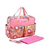 Chilsuessy Multifunktionale Kinderwagen Organizer Mutter Handtasche Wasserdichte Baby Windel Wickeltasche Baby Reisen Tasche, Pink