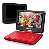 NAVISKAUTO 9 Inch Portable DVD Player ,Real 5 Hours Rechargeable Battery Swivel LCD Screen Monitor Support CD MP3 AUX AV, with Headrest Mount Case(Red)