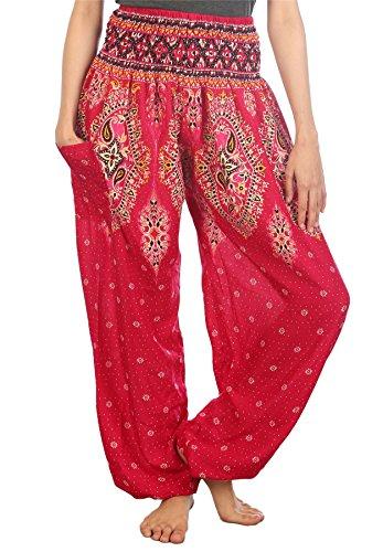 Lofbaz Damen Haremshose mit gesmoktem Bund Floral Rosa - Bilder Von Einem Zigeuner Kostüm