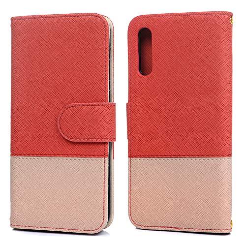 A50 Hülle Kompatible mit Samsung Galaxy A50 Handyhülle PU Leder Folie Brieftasche Tasche Mode Zweifarbig Case Einfarbig Kartenschlitz Magnetverschluss Ständer Kratzfest Stoßfest Stoßfänger Cover Rot