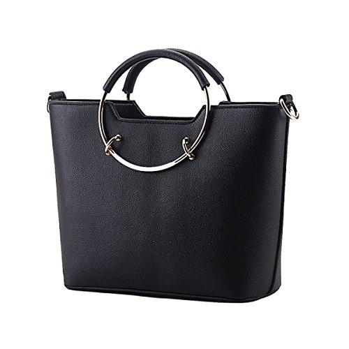 Damen-Tasche Umhängetasche Handtasche Messenger Tasche Freizeit Reisetasche Nieten Black