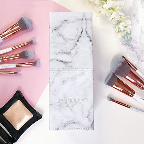 Lily England Makeup Brush Holder Pot. Portable Cup Holder Organiser for Make Up Brushes Storage & Travel, Marble & Rose Gold