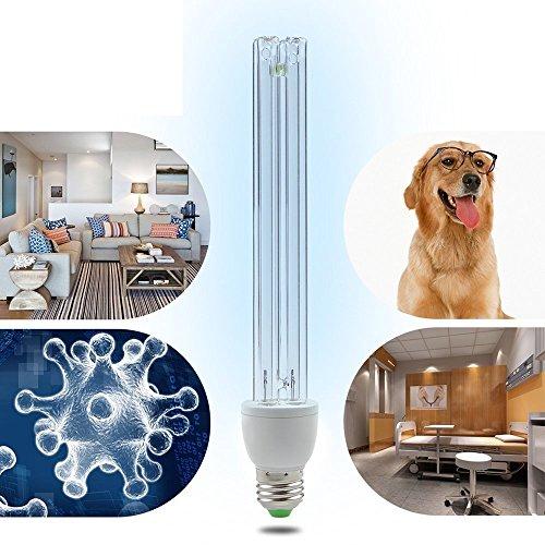 BRIGHTINWD LED 220 V 15 W UV-Ozon Sterilisation Lampe E27 Sockel antibakteriell Rate 99% UV-Desinfektion keimtötende Leuchten mit Lampenfuß[Energieklasse A+] (Uv-lampe Ozon)