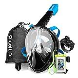 Enkeeo - Máscara de Buceo para Snorkel, 180°Vista Panorámica, Impermeable y Anti-Niebla (Caso de Telefono Impermeable y Pulsera giratoria para GoPro incluidos) (Negro L/XL)
