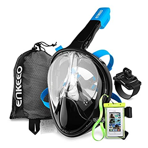 Enkeeo Full Face Snorkel Mask for Adult 180 Seaview Anti-Fog Easy Breathing Dry, with Gopro Mount Wristband, Waterproof Phone Case, Mesh Bag and Extra 4 Straps, Black