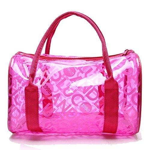 Lucky Will Donna donne estate chiara trasparente borsa spiaggia borsa da spiaggia trasparente tasche rosa rosa acceso