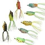 5PCS Esche Silicone Rana Gancio Pesca Morbido Crank bait Basso Esca Tackle casuale di colore (5PCS)