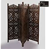 Onlineshoppee® Brown Wooden Partition Screen Room Divider In 4 Panel