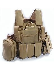 Militar de Heavy Duty Molle Combate Chaleco/Chaleco de protección protectora de seguridad w/bolsa de marrón para Camping (táctico de airsoft caza CS Juego de Guerra