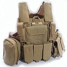 Chaleco de táctico MOLLE de estilo militar, chaleco protector de entrenamiento con bolsillos, para tácticas, caza, airsoft, camping, juegos de guerra, color marrón