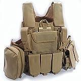 Militaire Armée Lourd Devoir MOLLE Combat Gilet Entraînement de Protection Sécurité Gilet avec Poche DE Tan pour Tactique de Chasse Airsoft Extérieur Camping CS Guerre Jeu